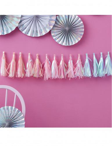 Guirlande tassel 18 pompons pastel iridescents-1