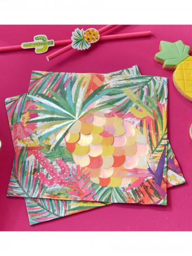16 Serviettes en papier Tropical métallisé 33 x 33 cm-1