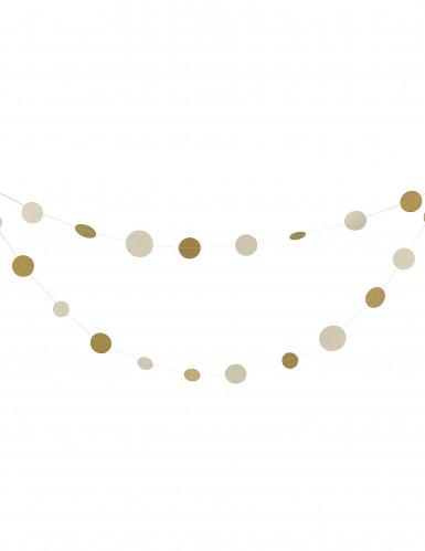 Décoration à suspendre ronds blancs et or 5m