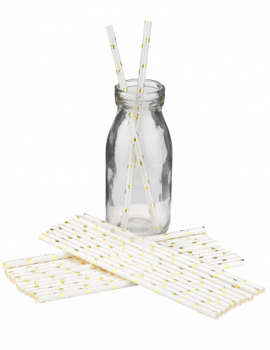 25 Pailles en carton blanches avec étoiles or-1