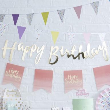 Guirlande Happy Birthday or 1,5 mètres-1