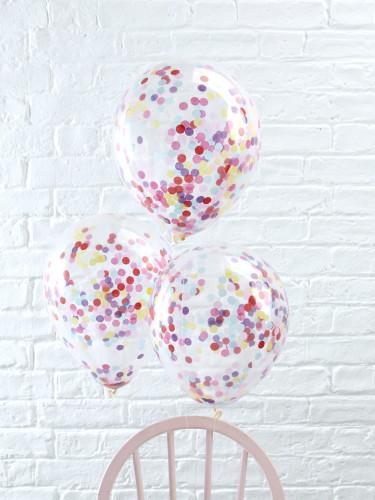 5 Ballons transparents confettis multicolores 30 cm-1