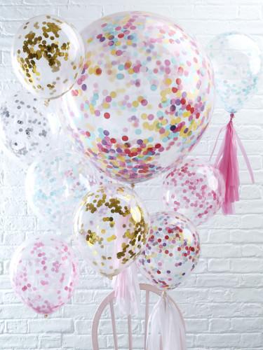 5 Ballons transparents confettis multicolores 30 cm-2