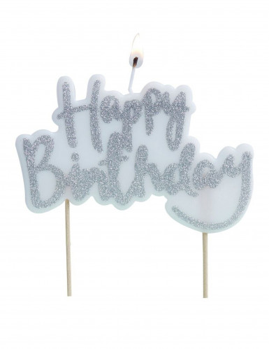 Bougie Happy Birthday argenté