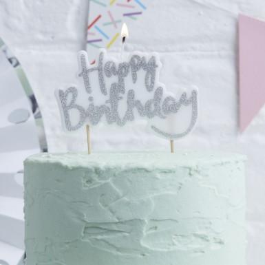 Bougie Happy Birthday argenté-1