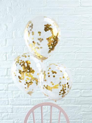 5 Ballons transparents confettis dorés-1