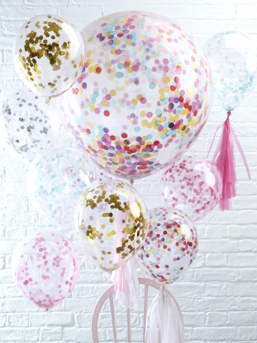 5 Ballons transparents confettis dorés-2