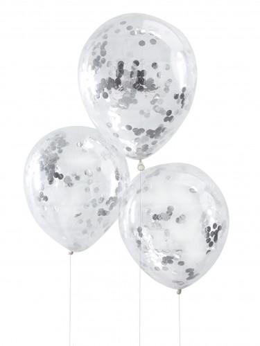 5 Ballons confettis argent 30 cm