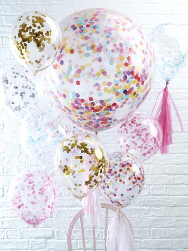 5 Ballons confettis bleu clair 30 cm-1