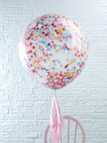 3 Ballons géant transparents confettis multicolores 91 cm-1
