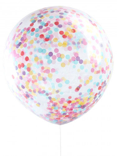 3 Ballons géant transparents confettis multicolores 91 cm