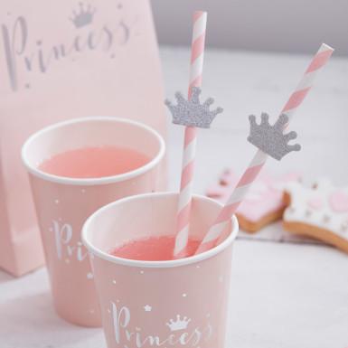 16 Pailles en carton Couronne de princesse-2