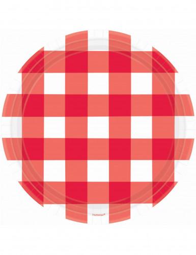 8 Assiettes en carton Vichy rouge 26 cm