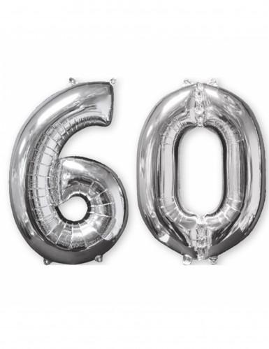 2 Ballons aluminium argent 60 ans 66 cm