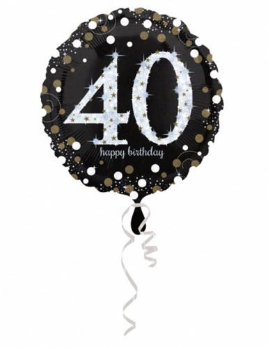 Ballon aluminium Happy Birthday scintillant 40 ans 45 cm