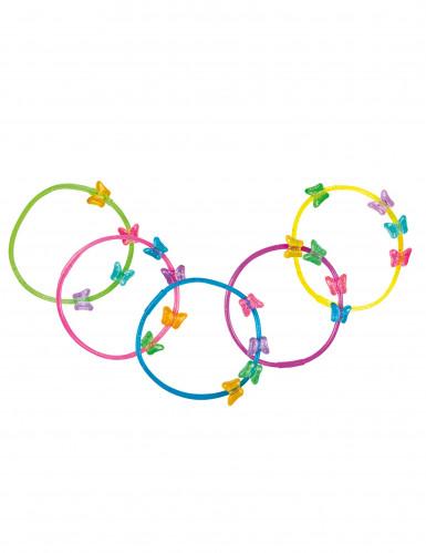 5 Bracelets papillons colorés