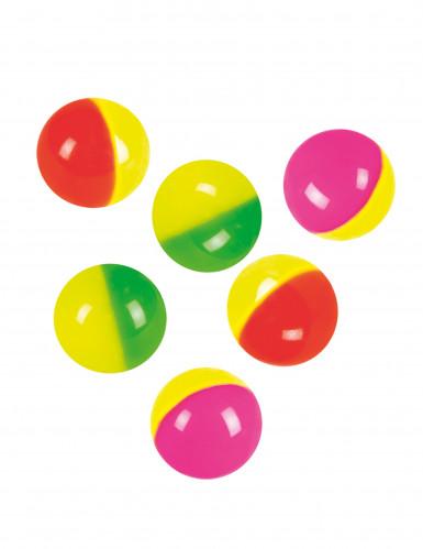 6 Balles rebondissantes colorées 3 cm