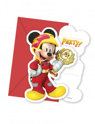 6 Cartes d'invitation avec enveloppes Mickey Racing™