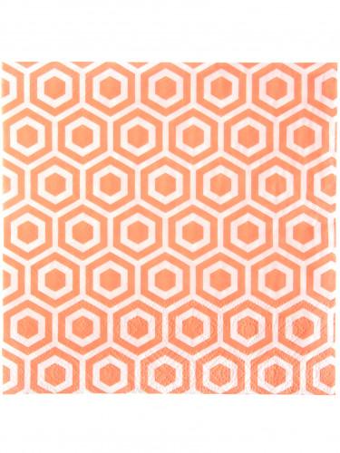 20 Serviettes en papier corail géométrique 33 x 33 cm