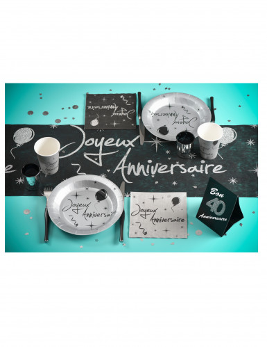 10 Assiettes en carton anniversaire argentées 22,5 cm-1
