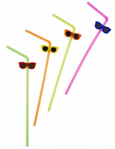 12 Pailles colorées lunettes de soleil