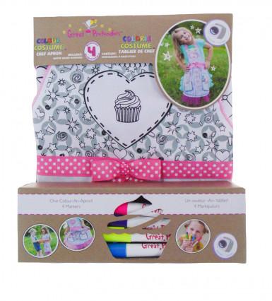 Tablier lavable à colorier miss cupcake fille-1