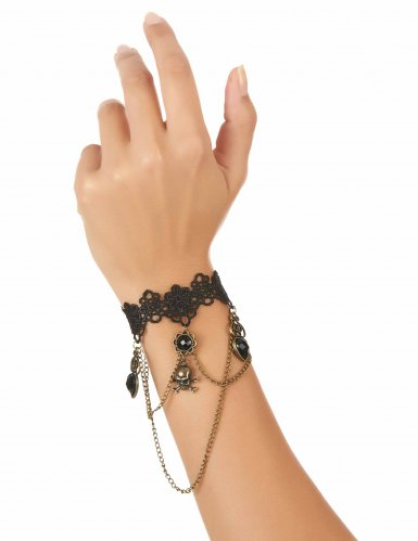Bracelet dentelle noire bijou main adulte-1