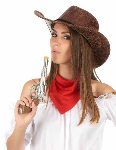 Chapeau de cowboy marron imitation cuir adulte-2