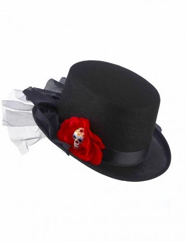 Chapeau haut de forme noir tête de mort fleur rouge Dia de los muertos adulte-1