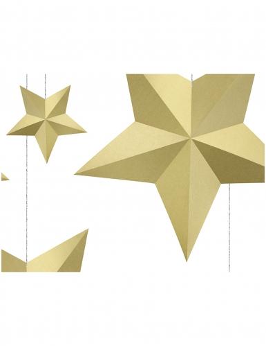 6 Etoiles à suspendre 3D dorées Noël-1