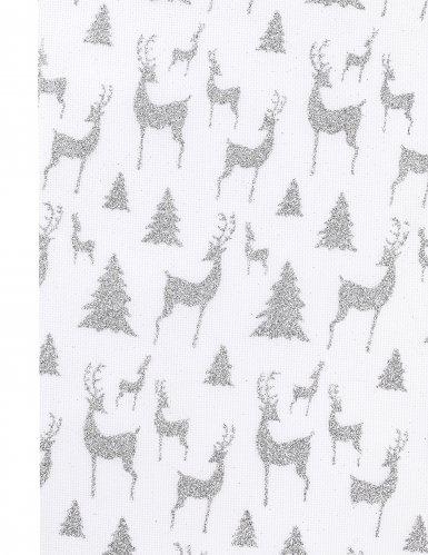 Chemin de table en toile rennes de Noël argentés 4 m-1