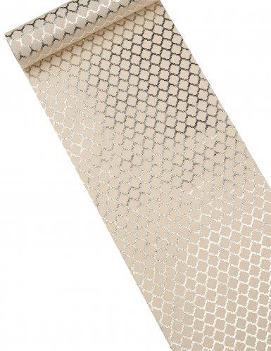 Chemin de table en lin motifs dorés 28 cm x 5 m