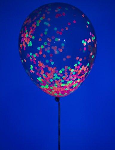 6 Ballons en latex confettis fluo 30 cm-1
