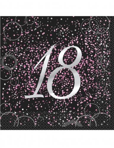 16 Serviettes en papier 18 ans confettis roses 33 x 33 cm