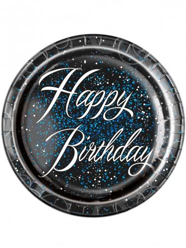 8 Assiettes en carton Happy Birthday confettis bleus 23 cm