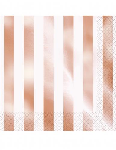16 Serviettes en papier rayures rose gold 33 x 33 cm