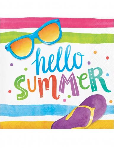 16 Petites serviettes en papier Hello Summer 25 x 25 cm