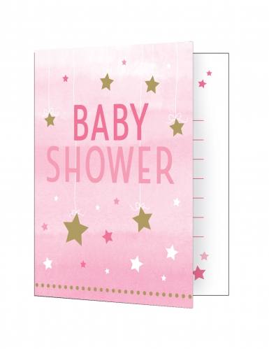 8 Cartons d'invitation Baby Shower rose One Little Star 10 x 12 cm