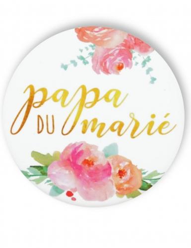 Badge épingle fleuri Papa du marié 56 mm