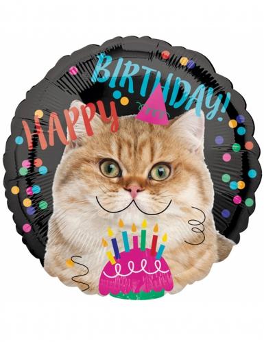 Ballon aluminium Happy Birthday Cat 43 cm