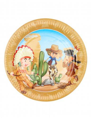 6 Assiettes en carton cow-boy et indien 23 cm