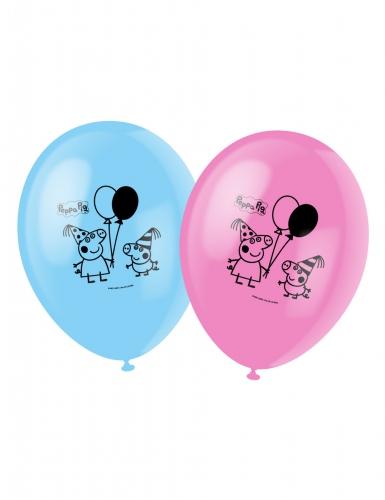 6 Ballons en latex Peppa Pig ™ bleus et roses 30 cm