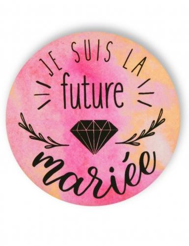 Badge épingle aquarelle Future mariée 56 mm