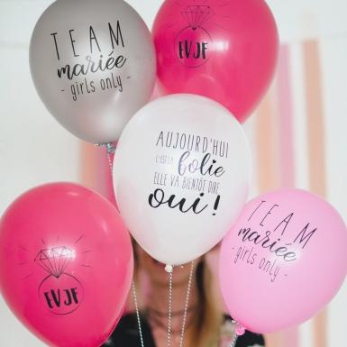 5 Ballons latex biodégradable Team mariée 27 cm-1