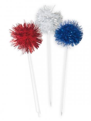 8 Pics pompon à cocktail rouge, bleu et argent 8,89 cm