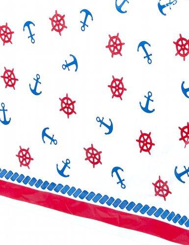 Nappe en plastique Gouvernail et Ancre rouge et bleu 137 x 213 cm-1