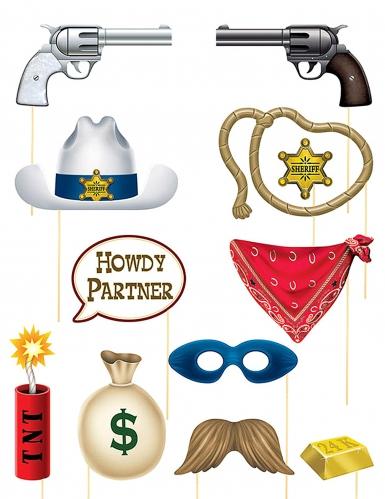 Kit photobooth thème Western 12 accessoires