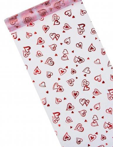 Chemin de table organza blanc cœurs rouges 5 m