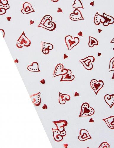 Chemin de table organza blanc cœurs rouges 5 m-1
