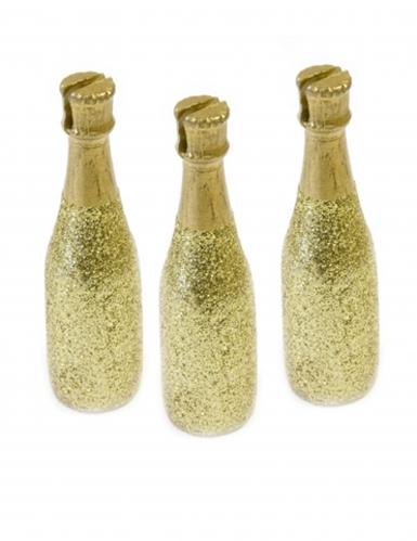 3 Marque-places Bouteille de Champagne doré 8 x 2 cm